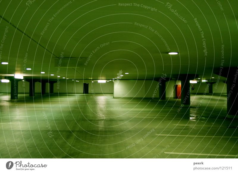 on one's own Parking garage Green Light Fear Panic Loneliness Kassel red door