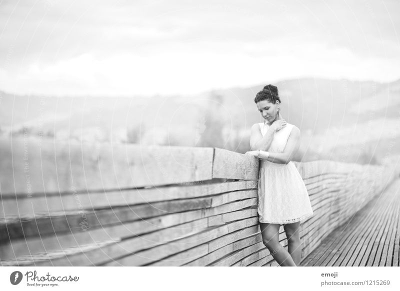 footbridge Feminine Young woman Youth (Young adults) 1 Human being 18 - 30 years Adults Dress Beautiful Black & white photo Exterior shot Day