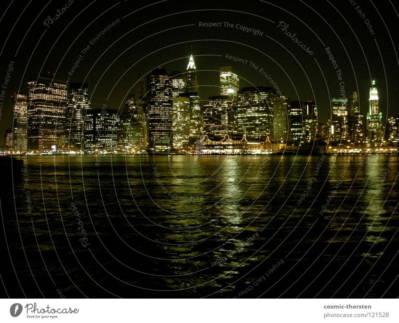 Manhattan at night #1 New York City Night High-rise East River Brooklyn Long exposure Skyline Water