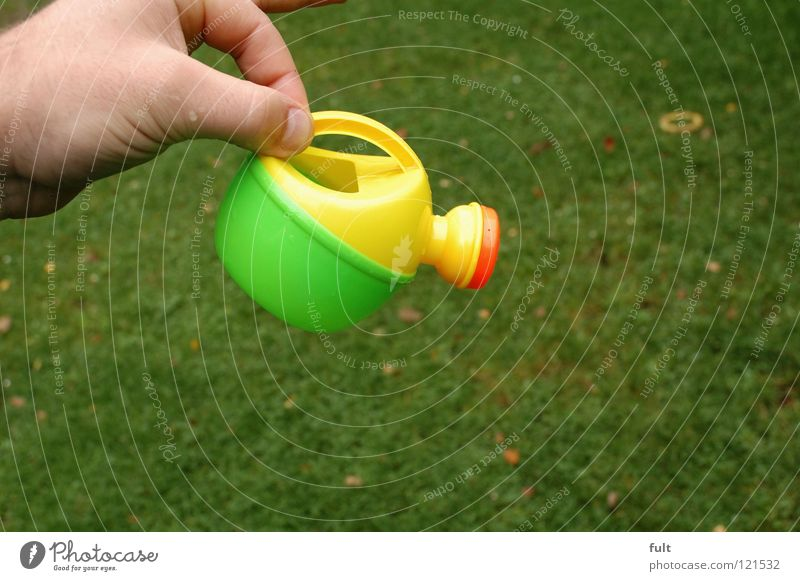 Hand Yellow Orange Fresh Lawn To hold on Plastic Cast Household Watering can