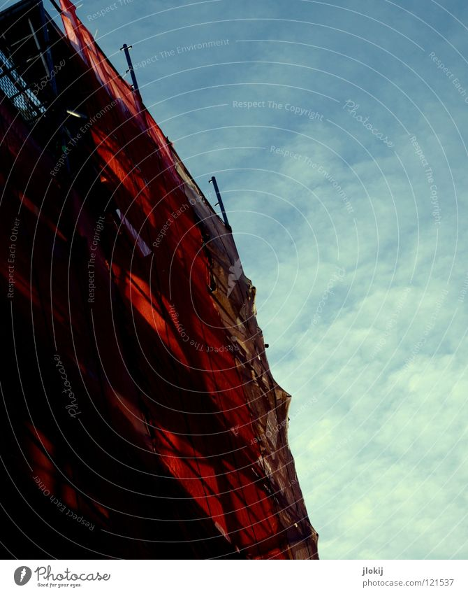 Sky Blue Red Clouds Colour Building Lamp Metal Tall Crazy Perspective Construction site Cloth Net Handrail Steel
