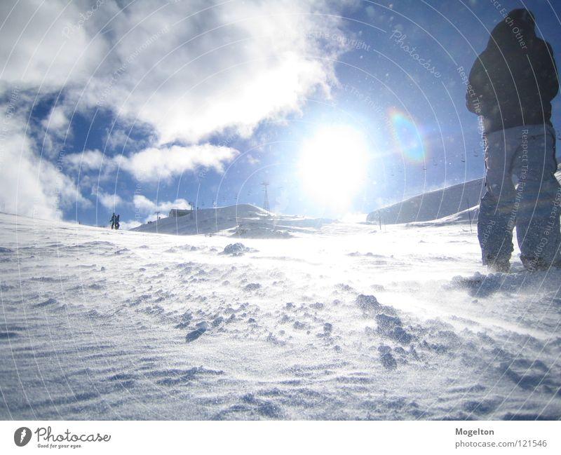 Sky Vacation & Travel Sun Clouds Winter Cold Mountain Snow Wind Stand Winter sports Ski run Snow layer Winter mood Winter sun