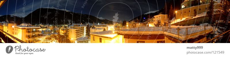 Davos at night Colour photo Exterior shot Abstract Evening Night Light Long exposure Shallow depth of field Panorama (View) Vacation & Travel Tourism Winter