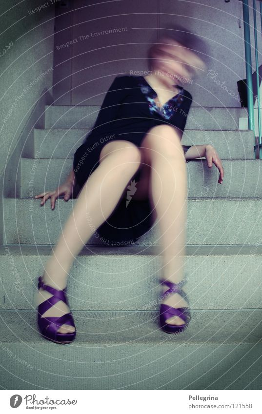 Woman Blue Movement Footwear Legs Stairs Dress Ghosts & Spectres  Handrail Surrealism Staircase (Hallway) Unclear Landing High heels Hissing Phenomenon