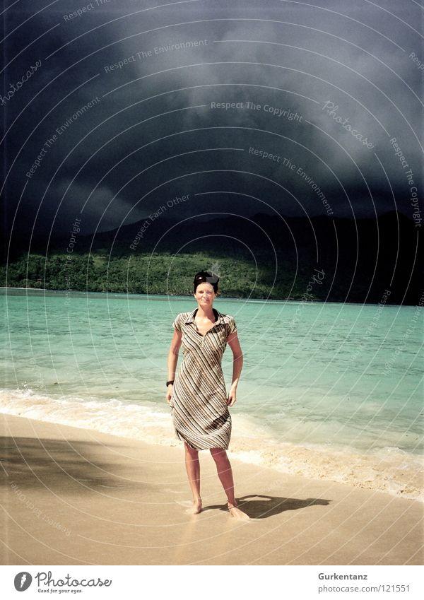 Shadow of Mordor Woman Dress Violet plants Headscarf Beach Sandy beach Turquoise Black Clouds Rain Storm Hell Dark Dangerous Sky Coast Cuba Island Bay Water