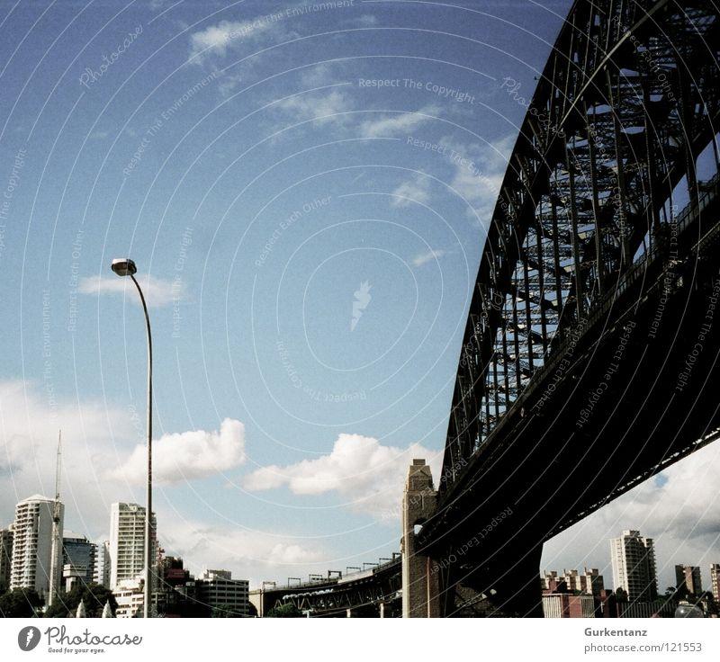 Sky Clouds Lamp Bridge Harbour Skyline Australia Street lighting Sydney Harbour Bridge