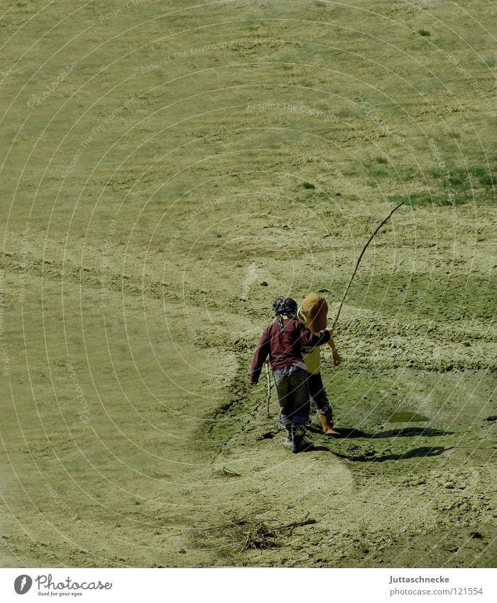 Child Nature Joy Playing Boy (child) Sand Small Fight Stick Paradise Mining Arena Soft coal mining Pit Loam Sandbox