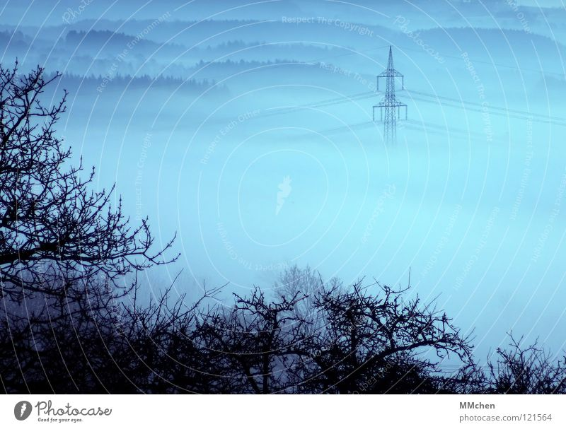 Sky Blue White Tree Winter Dark Cold Weather Fog Large Electricity Cable Gloomy Bushes Hide Electricity pylon