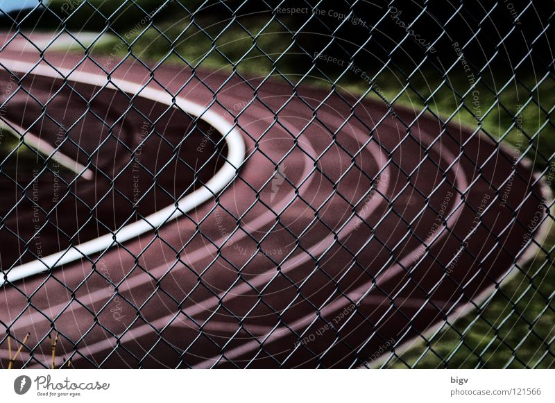 Behind grids Fence Sporting grounds Grating Loop Racecourse Track and Field Dark Red Sports Playing Contrast
