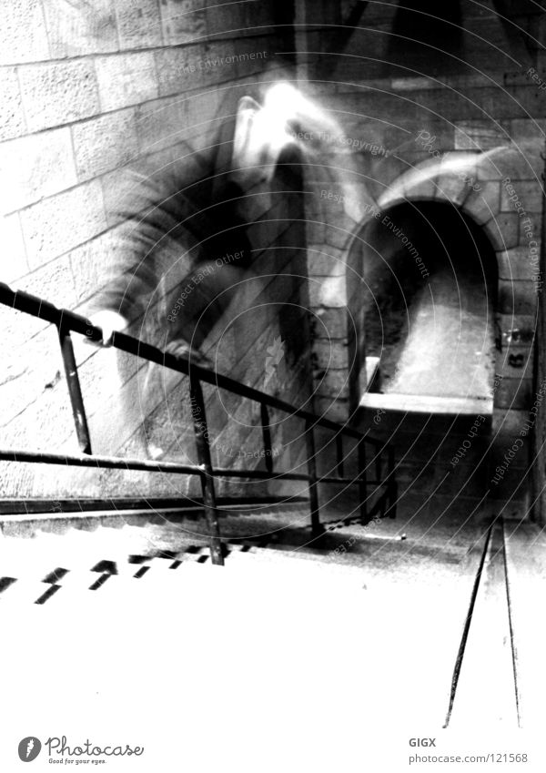Old stair Jump Sandstone Ludwigshafen Man Stairs Handrail Black & white photo A6