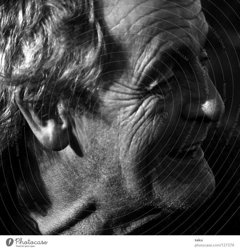 dave Man Portrait photograph Furrowed brow Interesting Fisherman Reunion New Zealand Face Wrinkles folds of thought Black & white photo Neck Eyes Nose Mouth