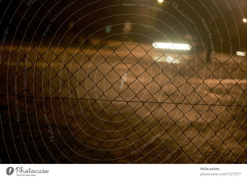 Street Dark Car Transport Dangerous Threat Mysterious Traffic infrastructure Fence Captured Barrier Vehicle Mixture Floodlight Penitentiary Grating
