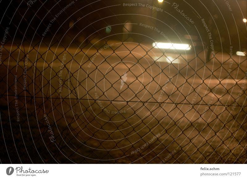 Street Dark Car Transport Dangerous Threat Mysterious Traffic infrastructure Fence Captured Barrier Vehicle Mixture Floodlight Penitentiary Grating
