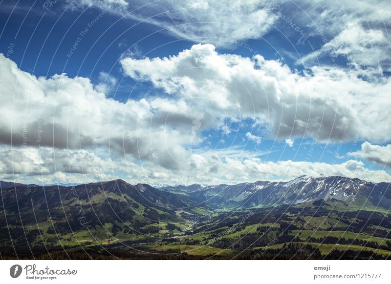 Breath. Environment Nature Landscape Sky Clouds Summer Beautiful weather Alps Mountain Natural Blue Green Switzerland Trip Tourism Hiking trip Class outing