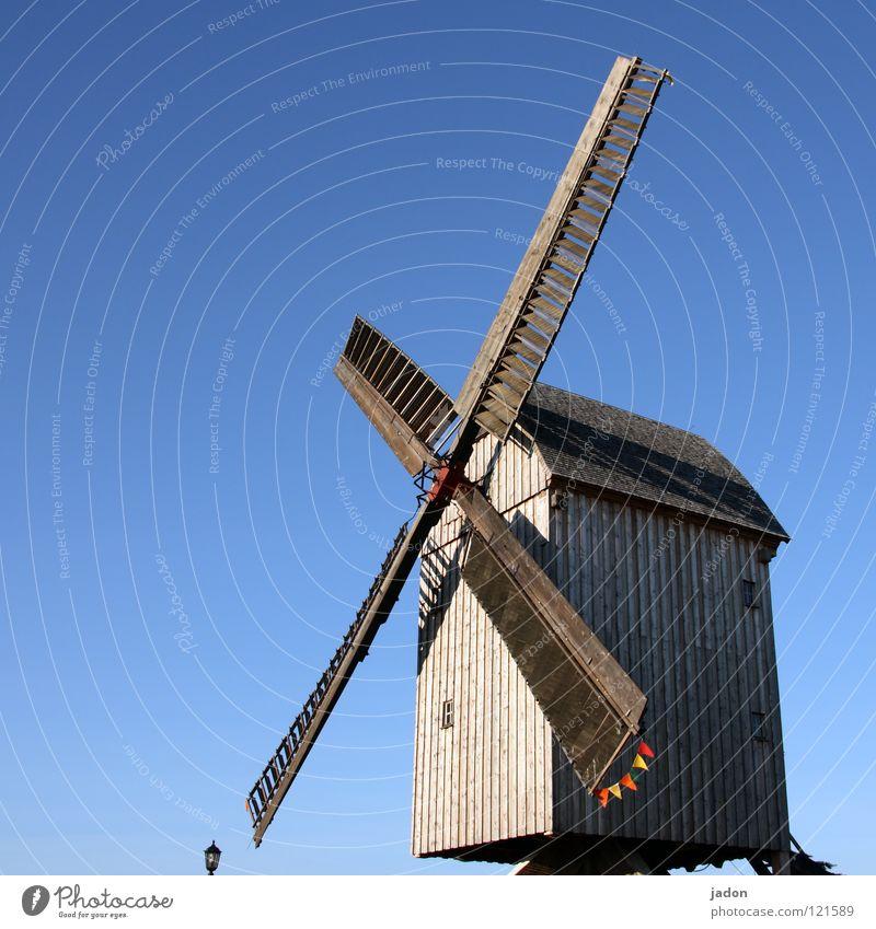 Mill blue Windmill Wood Sky blue Azure blue Propeller Rotate Brandenburg Landmark Monument Historic Old Blue Beautiful weather Rotor mill club