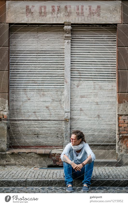 Human being Woman City Old Blue Adults Life Street Feminine Time Brown Facade Gloomy Sit Wait Closed
