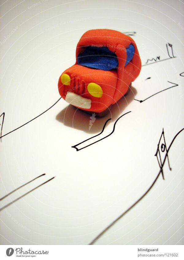 It always does tut tut ... Toys Painted Paper Red Small Cute Transport Macro (Extreme close-up) Close-up Creativity Car Street Infancy Modeling clay Toy car