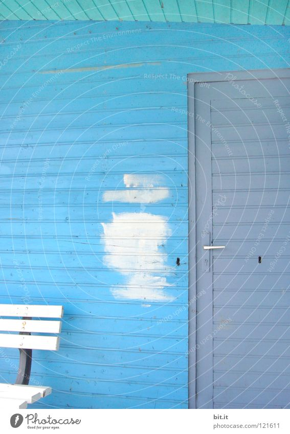 White Gray Redecorate Section of image Partially visible Redevelop Patch of colour Wooden wall Sky blue Light blue Paints and varnish Paintwork Wooden house Bench Wooden door Azure blue