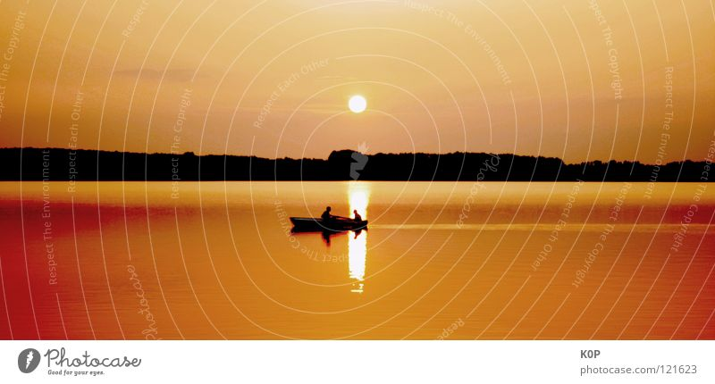 The world stands still Lake Sunset Angler Fishing (Angle) Summer Pond Reflection Calm Boredom Relaxation Celestial bodies and the universe Landscape Water