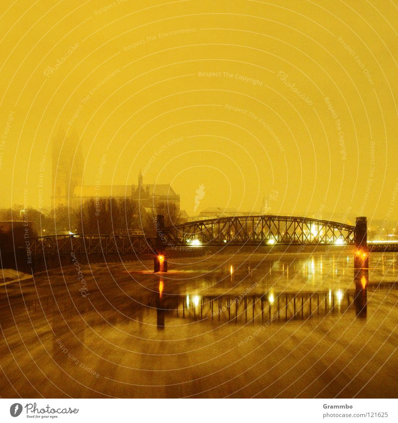 Elbe in Magdeburg during snowfall Electricity Winter Night Bridge Dome lift bridge River Snow Evening
