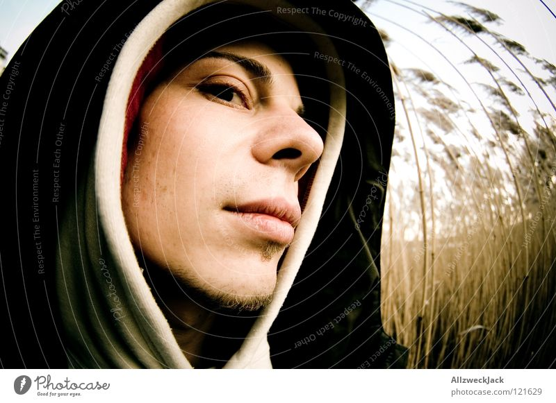 suspicion Man Hooded (clothing) Cold Headwear Fisheye Portrait photograph Common Reed Think Mistrust Suppose Jealousy Skeptical Fear Abbreviate Trust Winter