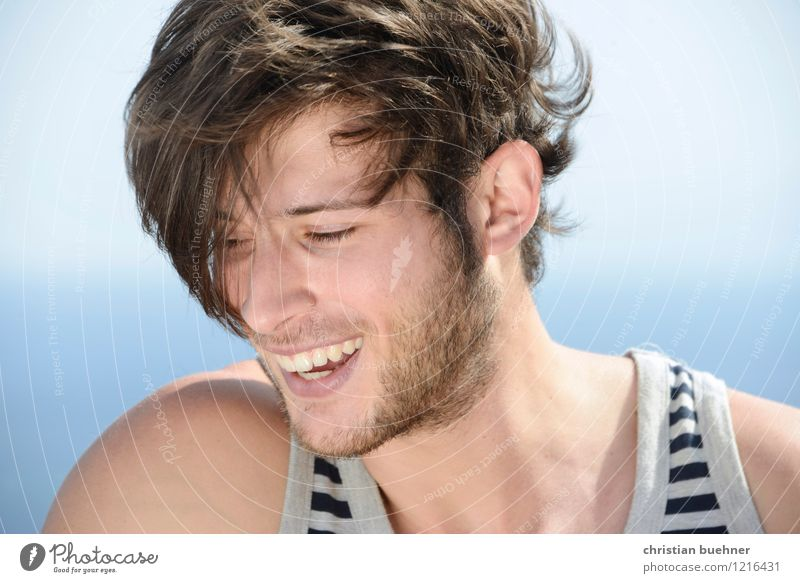 when you smile Summer Summer vacation Sun Ocean Young man Youth (Young adults) 1 Human being 18 - 30 years Adults Smiling Laughter Beautiful Joy Happiness