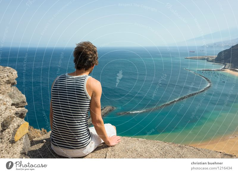 Human being Sky Nature Vacation & Travel Youth (Young adults) Sun Ocean Loneliness Landscape Young man Far-off places 18 - 30 years Beach Adults Freedom Sand