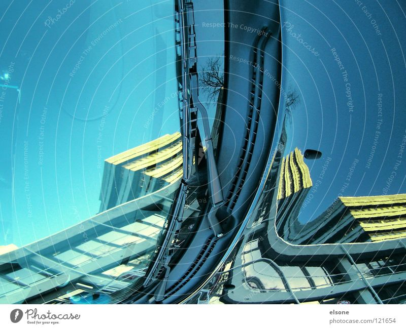 ::ELSONE:: Exceptional Crazy House (Residential Structure) Town Building Mirror Suction Detail Art Culture Funny shut down Surrealism spieglung Blue Domicile