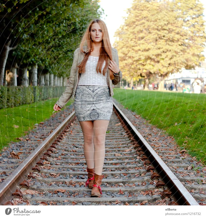 rail Human being Feminine Young woman Youth (Young adults) Woman Adults 1 18 - 30 years Tree Traffic infrastructure Rail transport Railroad tracks Fashion Dress