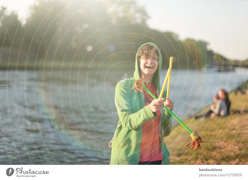 Summer, somewhere, someone, summer Leisure and hobbies Playing Feminine Androgynous Homosexual Artist Circus Water Beautiful weather Lakeside River bank