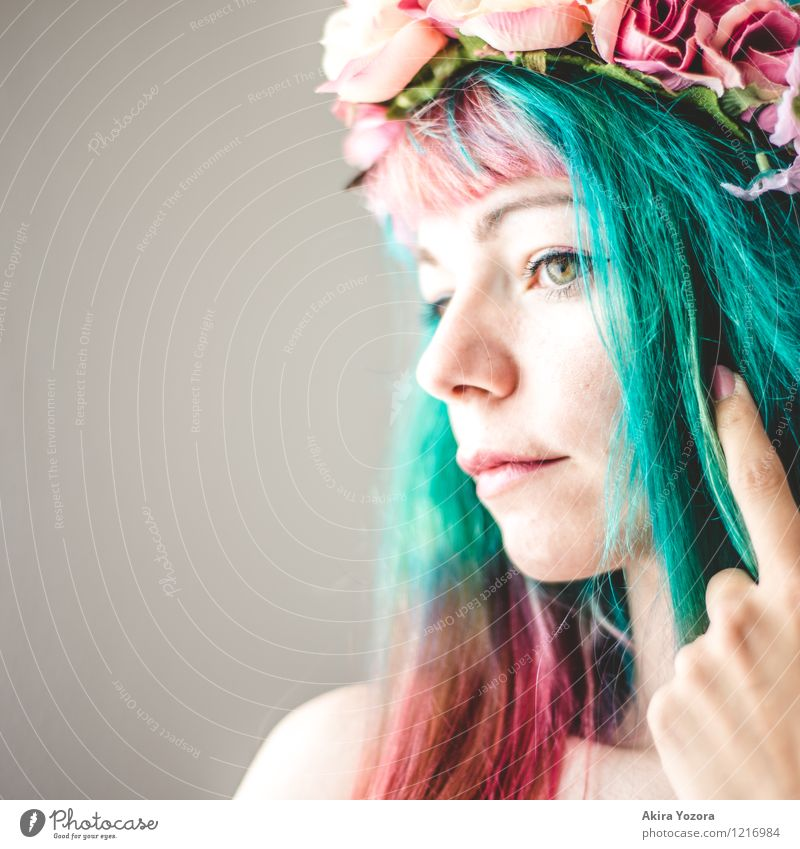 Human being Youth (Young adults) Green Young woman 18 - 30 years Face Adults Emotions Feminine Hair and hairstyles Pink Dream Esthetic Uniqueness Romance Touch