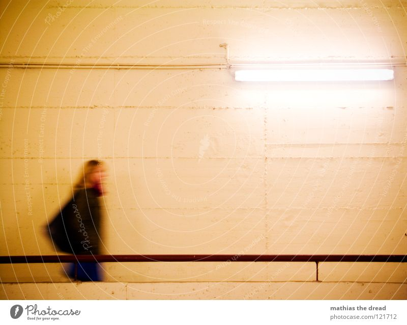 STAY A WHILE! PLEASE Going Speed Movement Stride Woman Bag Blonde Long Beautiful Wall (building) Hard Cold Motionless Silhouette Yellow Lamp Fluorescent Lights