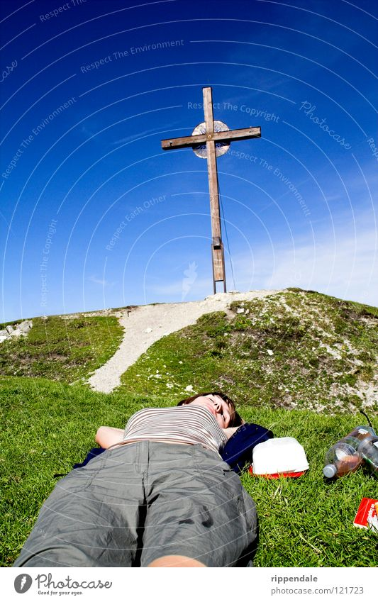 relaxed at the top Peak Peak cross Relaxation Bavaria Sleep Mountaineering Calm Summer Physics Back Contentment Nature Blue sky Sky Lie Climbing Warmth