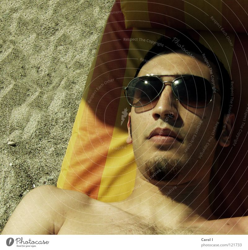 Man Vacation & Travel Beautiful Summer Relaxation Joy Beach Black Face Laughter Hair and hairstyles Sand Lie Brown Masculine Skin