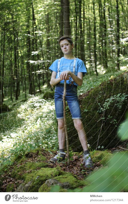 stand Hiking Boy (child) Infancy 1 Human being 8 - 13 years Child Environment Nature Sun Summer Park Forest Suspenders Stick Hiking stick Observe Discover