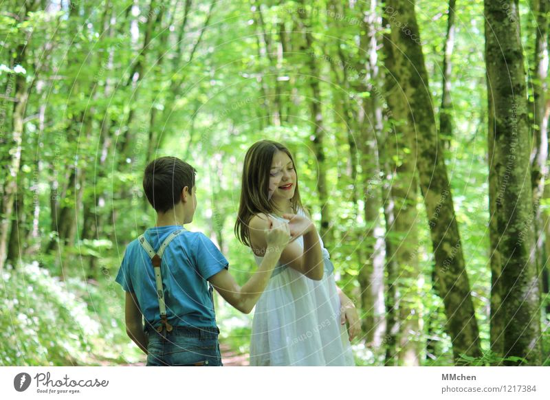 Human being Child Nature Summer Tree Joy Girl Forest Feminine Boy (child) Happy Feasts & Celebrations Freedom Park Dream Masculine