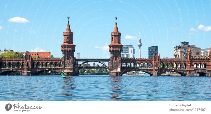 Oberbaum Bridge in Berlin Summer Water Clouds Beautiful weather City hall Tower Manmade structures Architecture Tourist Attraction Landmark Blue Tourism Town