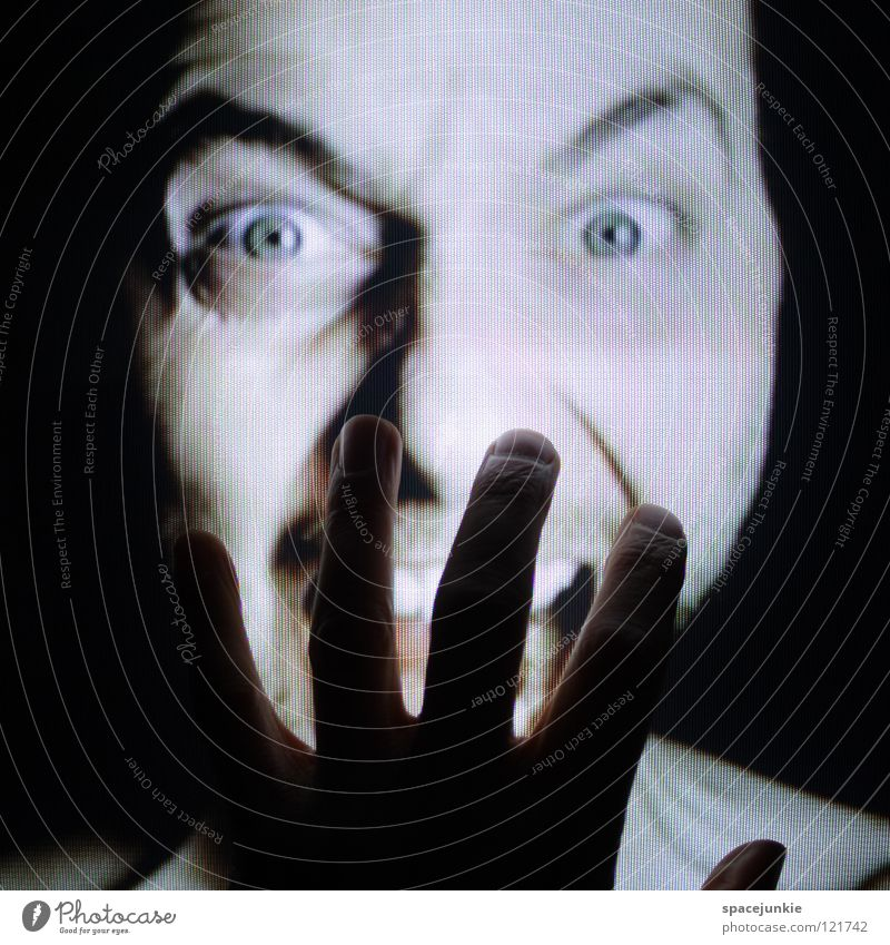 Human being Hand Joy Face Emotions Fingers TV set Anger Touch Screen Evil Freak Aggravation Aggression Redneck
