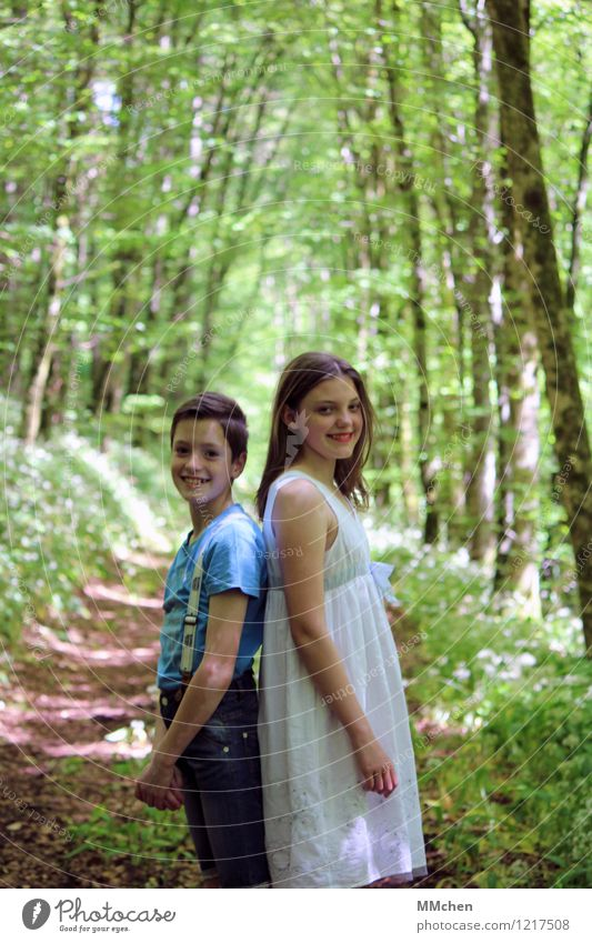 Human being Child Nature Youth (Young adults) Blue Green Beautiful Summer White Young woman Joy Forest Lanes & trails Boy (child) Happy Together