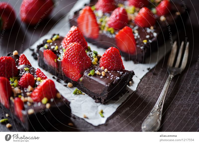 Chocolate Strawberry Tart II tart Cake Baked goods Fruit Red To enjoy Dessert Dish Eating Food photograph Dark Sweet Delicious Summer Calorie Mint Nut