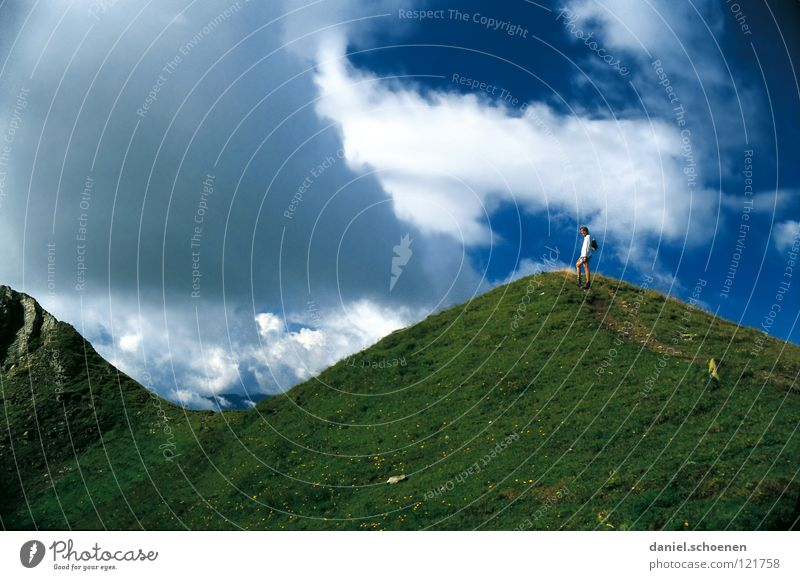 Sky White Blue Summer Clouds Meadow Mountain Hiking Weather Target Leisure and hobbies Switzerland Hill Peak Effort Mountaineering