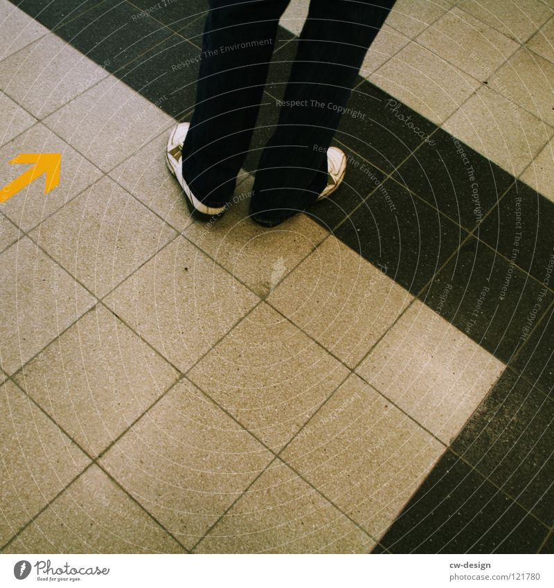 one step backward - two step forward Seam Pattern Stripe Linearity Flat Square Mathematics Dark Black White Footwear Pants Yellow Direction East Boredom Signage