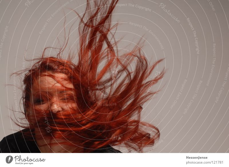 Woman Red Joy Face Gray Hair and hairstyles Wind Nose Hope Dynamics Obscure Left Headwind