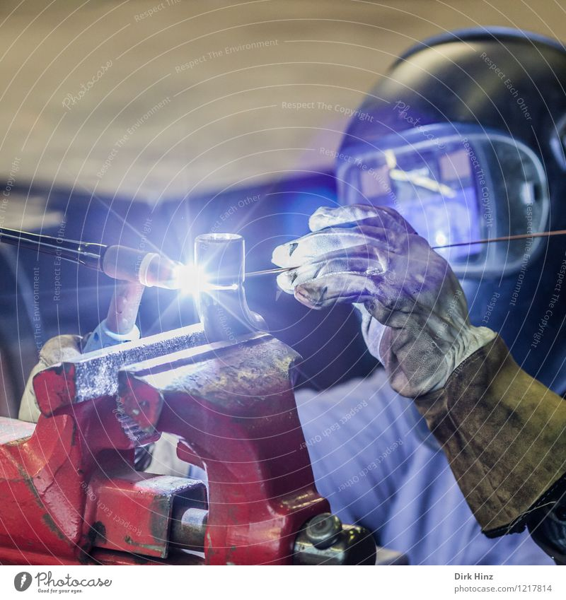 Welder I Work and employment Profession Craftsperson Industry Craft (trade) Company Tool Machinery Technology Metal Blue Red Lightning Welding goggles vice