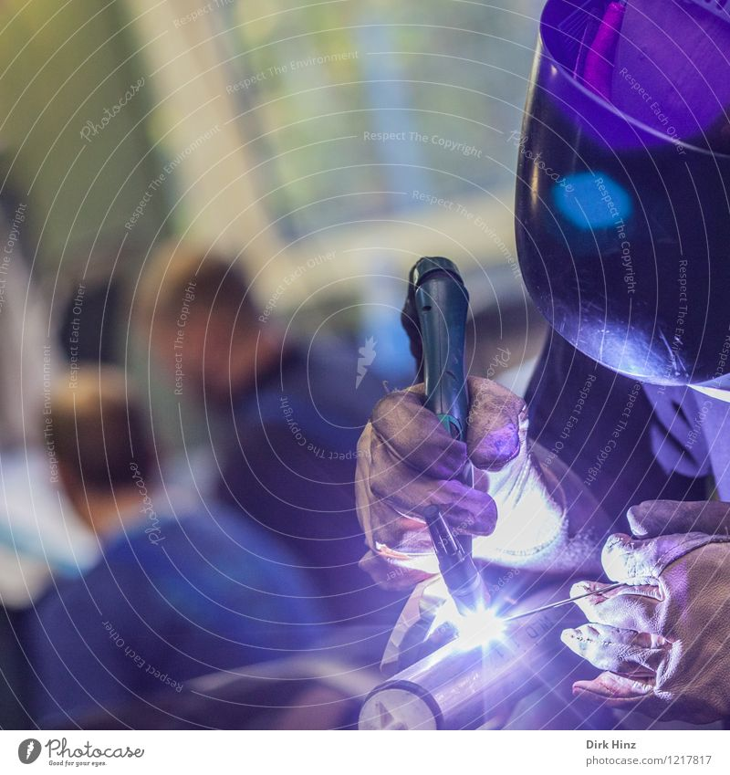 Welder II Work and employment Profession Craftsperson Construction site Economy Industry Craft (trade) Business Company Machinery Blue Violet Welding goggles