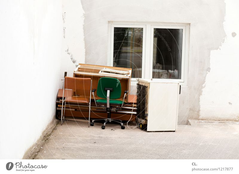 bulky refuse Furniture Chair Wall (barrier) Wall (building) Window Trash Old Decline Colour photo Exterior shot Deserted Day