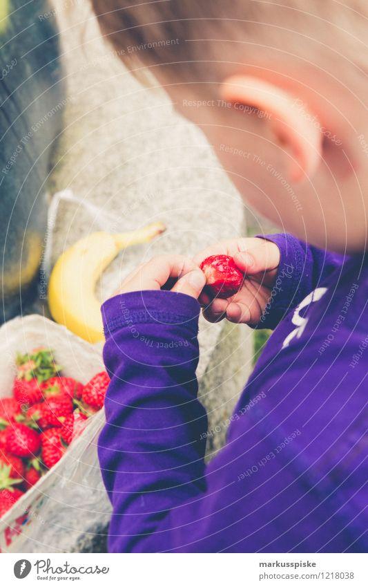 toddler eats strawberries Food Fruit Strawberry Banana Eating Organic produce Vegetarian diet Slow food Finger food Healthy Eating Life Well-being