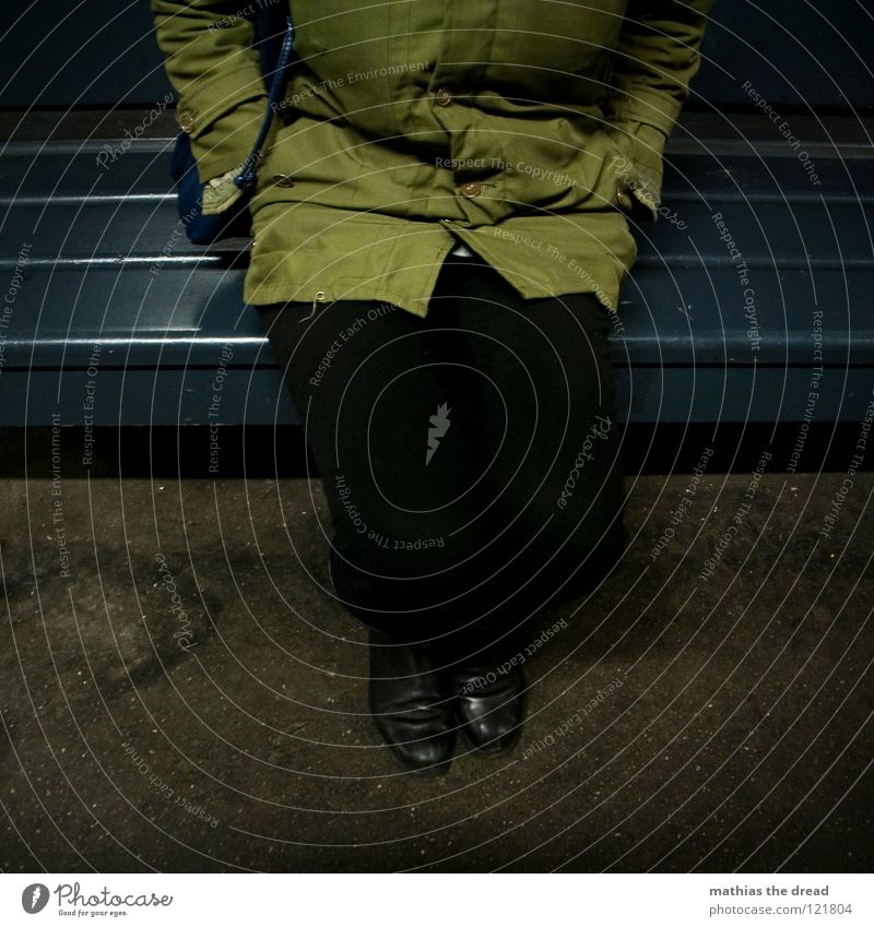 Woman Blue Green Beautiful Loneliness Dark Cold Wood Legs Fear Sit Wait Floor covering Threat Bench Jacket