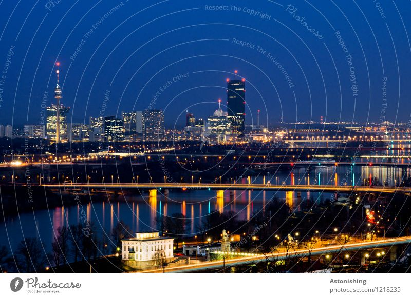 Viennese skyline Environment Water Sky Cloudless sky Night sky Weather River Danube Vienna Austria Town Capital city Skyline House (Residential Structure)