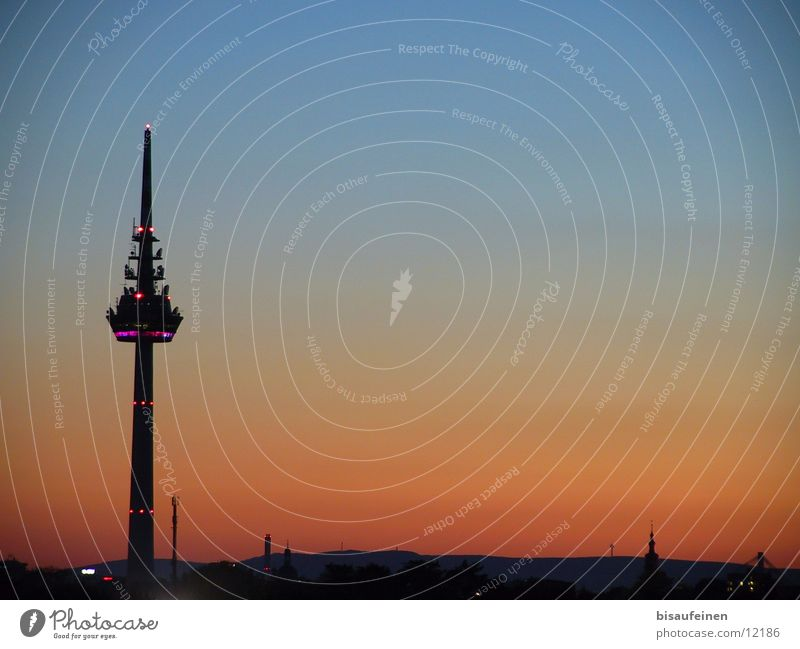 Sky Building Architecture Skyline Dusk Television tower Mannheim